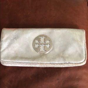 Tory Burch silver clutch